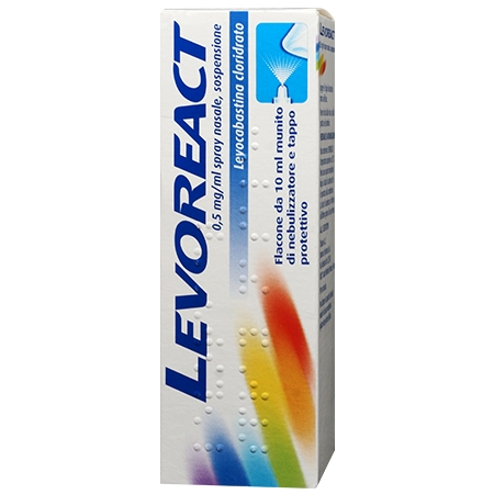 Levoreact spray nasale 10 ml 0,5 mg