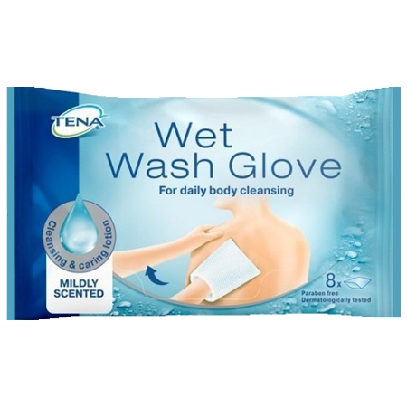 Tena wet wash glove 8 pezzi